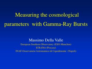 Measuring the cosmological parameters  with Gamma-Ray Bursts