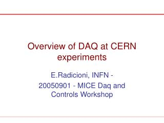 Overview of DAQ at CERN experiments