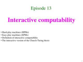 Interactive computability