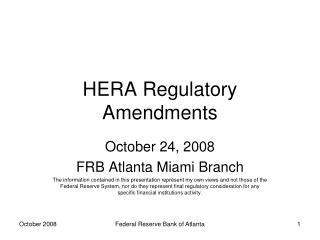 HERA Regulatory Amendments