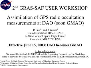 2 nd  GRAS-SAF USER WORKSHOP