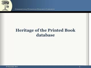 Heritage of the Printed Book database