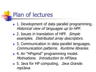 Plan of lectures