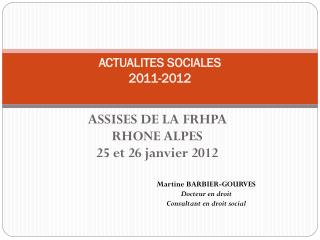 ACTUALITES SOCIALES 2011-2012