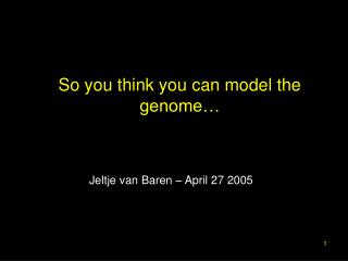 So you think you can model the genome�