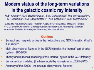 Modern status of the long-term variations  in the galactic cosmic ray intensity