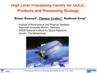 High Level Processing Facility for GOCE: Products and Processing Strategy