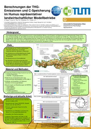 Berechnungen der THG- Emissionen und C-Speicherung  im Humus repräsentativer