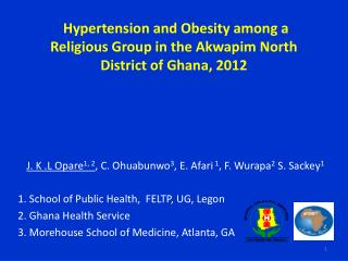 Hypertension and Obesity among a Religious Group in the Akwapim North District of Ghana, 2012
