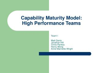 Capability Maturity Model: High Performance Teams