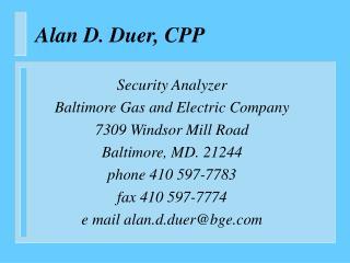Alan D. Duer, CPP