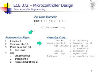 ECE 372 – Microcontroller Design Basic Assembly Programming