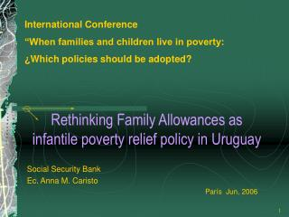 Rethinking Family Allowances as infantile poverty relief policy in Uruguay