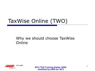 TaxWise Online (TWO)