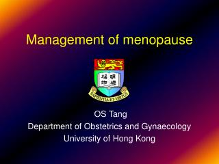 Management of menopause