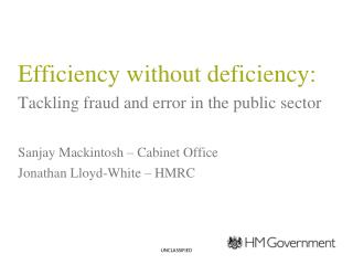 Efficiency without deficiency: Tackling fraud and error in the public sector