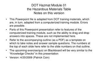 DOT Hazmat Module 01 the Hazardous Materials Table Notes on this version