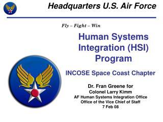 Human Systems  Integration (HSI) Program