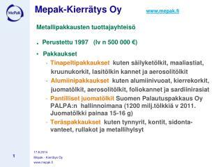 Mepak-Kierrätys Oy         mepak.fi
