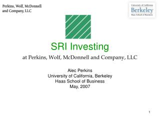 SRI Investing  at Perkins, Wolf, McDonnell and Company, LLC