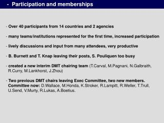 -  Participation and memberships