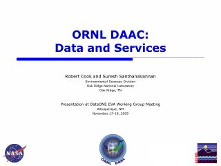 ORNL DAAC: Data and Services