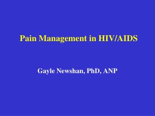 Pain Management in HIV