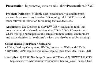 Examples :  1) TASC Northrup Gruman (CTIS) and 2) NUWC TALOSS