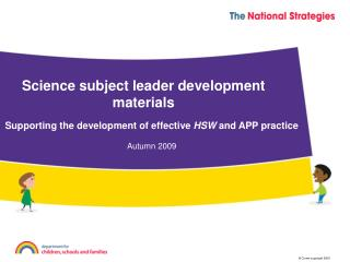 Science subject leader development materials