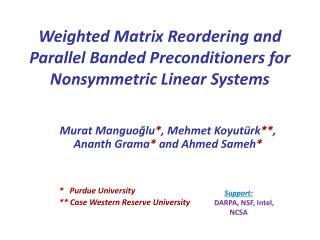Weighted Matrix Reordering and Parallel Banded Preconditioners for Nonsymmetric Linear Systems