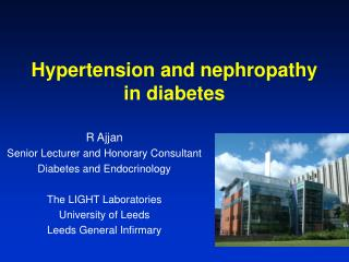 Hypertension and nephropathy in diabetes