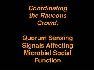 Coordinating the Raucous Crowd: Quorum Sensing Signals Affecting Microbial Social Function