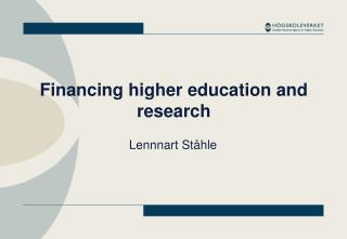 Financing higher education and research