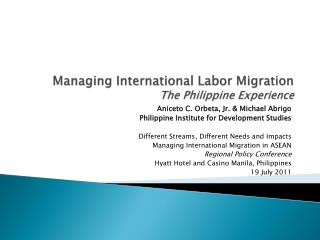 Managing International Labor Migration The Philippine Experience