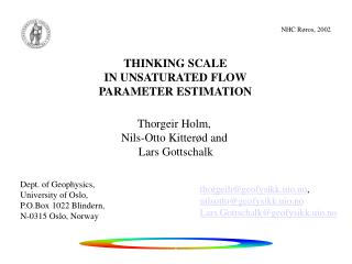 THINKING SCALE IN UNSATURATED FLOW  PARAMETER ESTIMATION