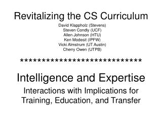Revitalizing the CS Curriculum