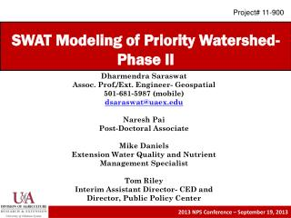 SWAT Modeling of Priority Watershed- Phase II