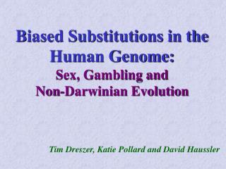 Biased Substitutions in the Human Genome: Sex, Gambling and  Non-Darwinian Evolution
