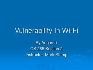 Vulnerability In Wi-Fi