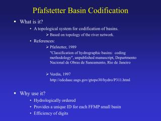 Pfafstetter Basin Codification