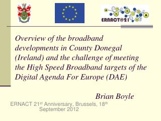 ERNACT 21 st  Anniversary, Brussels, 18 th  September 2012