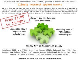 Monday Nov 2: Science and scenarios