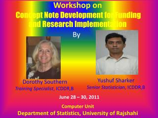 Workshop on   Concept Note Development for Funding and Research Implementation