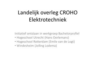 Landelijk overleg CROHO Elektrotechniek