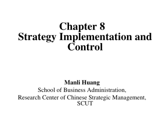 Organizational Structure and Control for Effective Strategy Implementation