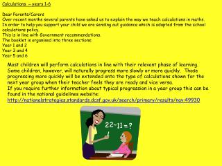 Calculations   �  years 1-6 Dear Parents/Carers