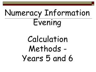 Numeracy Information Evening