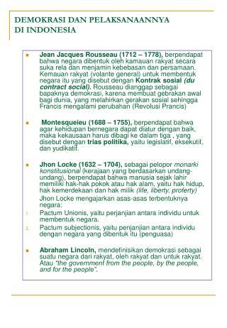 DEMOKRASI DAN PELAKSANAANNYA  DI INDONESIA
