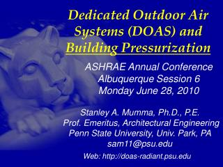 Dedicated Outdoor Air Systems (DOAS) and  Building Pressurization