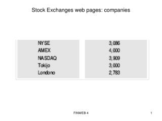 Stock Exchanges web pages: companies